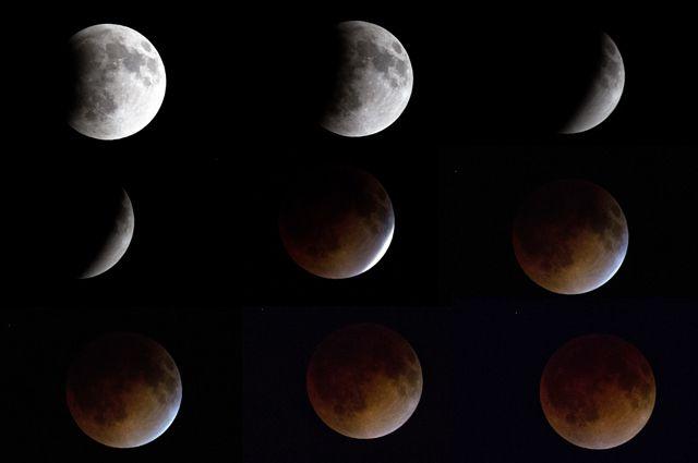 Затмение происходит постепенно, полностью скрывая Луну.