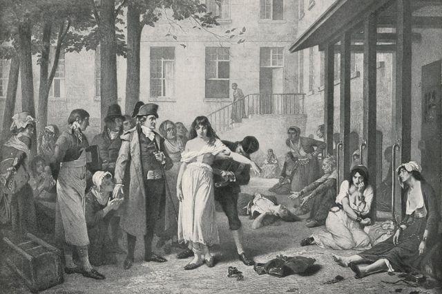 Психиатр Филипп Пинель приказывает освободить от оков психическую больную. Париж, 1795 год.