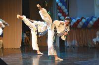 Показательные выступления спортсменов на 10-летии Приморской федерации тхэквондо.