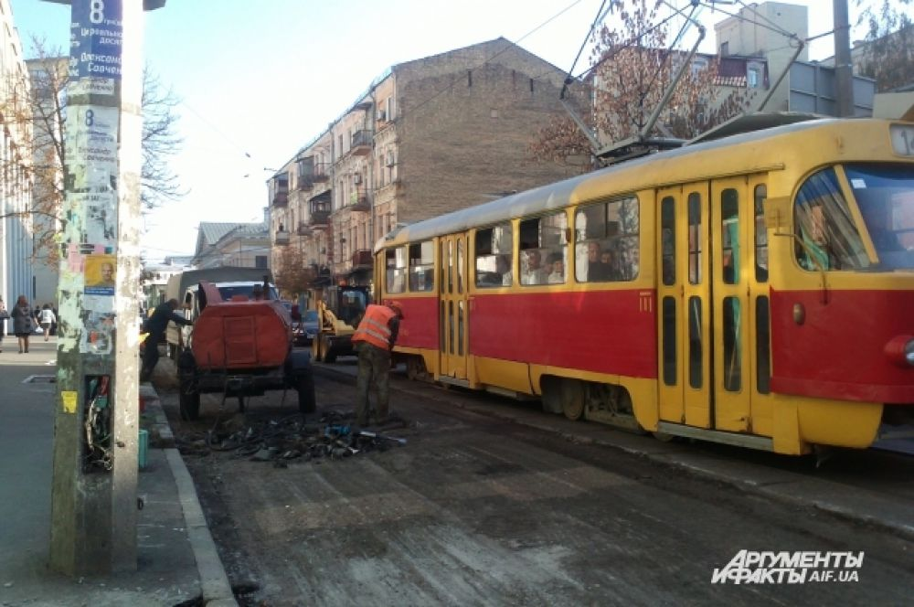 Ремонт дорожного полотна на Межигорской