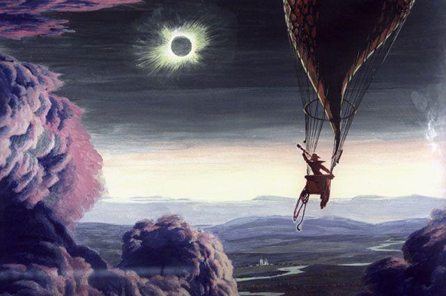 Репродукция картины «Менделеев навоздушном шаре вовремя солнечного затмения». 1960год. Автор — доктор технических наук, профессор Георгий Покровский.