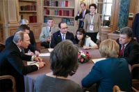 Владимир Путин встретился с Меркель, Олландом и Порошенко.