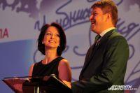 Ведущие церемонии - спортивный комментатор и телеведущий Дмитрий Губерниев и актриса Ольга Кабо