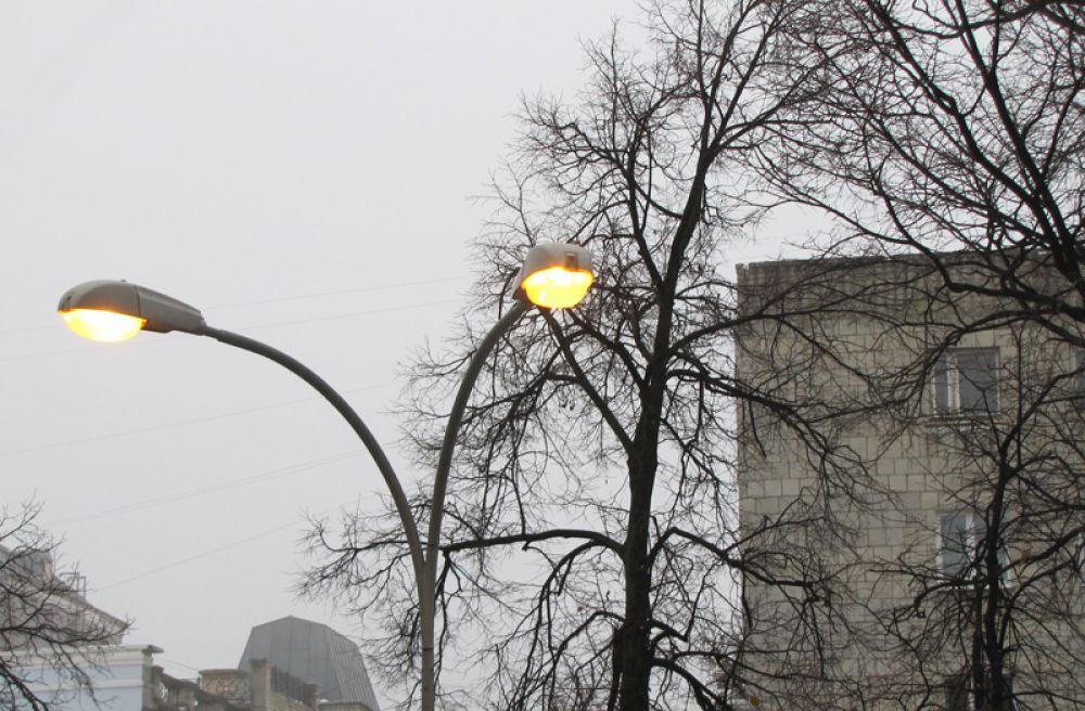 Весь день горели фонари, но когда зажглись окна, фонари выключили