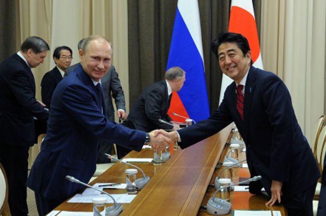 Президент России Владимир Путин и премьер-министр Японии Синдзо Абэ во время встречи в феврале 2014 года.
