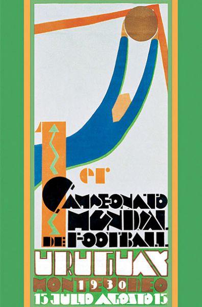 Плакат первого чемпионата мира, который прошел в 1930 году в Уругвае. Победу одержали хозяева турнира, обыгравшие в финале сборную Аргентины.