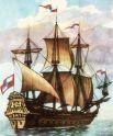 Двухпалубный парусный фрегат «Орёл» традиционно считается началом Российского флота. Длина корабля составляла 24.5 м. Это судно несло три мачты и было вооружено 22 пушками. Экипаж – 22 матроса и 35 стрельцов. Фрегат не имел гребных весел и являлся первым чисто парусным военным кораблем, построенным в России. К сожалению в истории этого корабля нет героических сражений. Проплавав некоторое время по Волге и Каспию, «Орел» летом 1669 года был захвачен в городе Астрахани казаками Стеньки Разина. Тем не менее он навсегда вошёл в историю России как первый военный парусник.