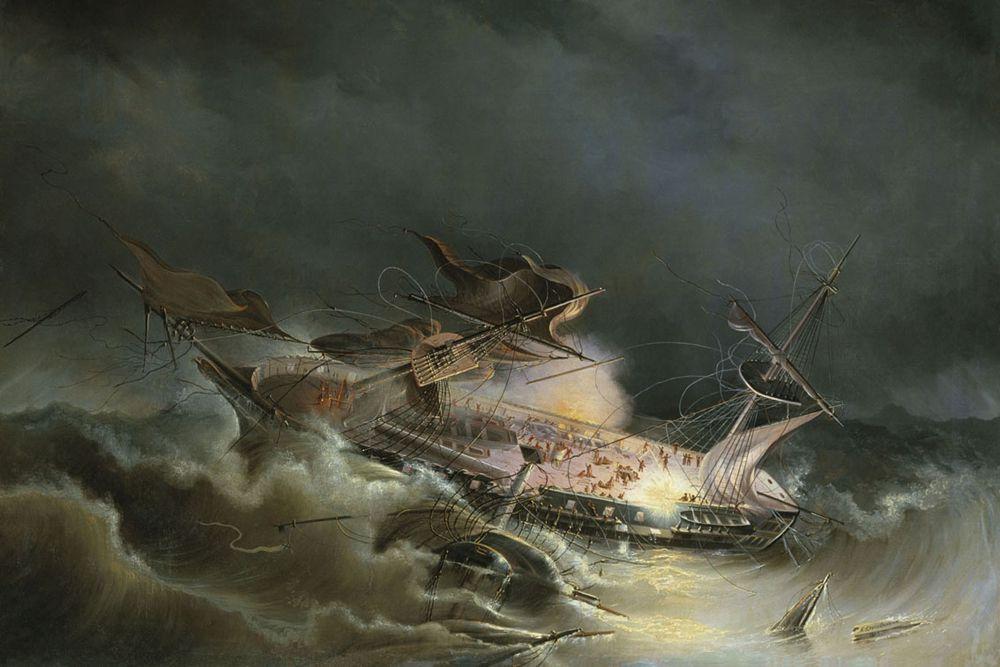 «Ингерманланд» — парусный 74-пушечный линейный корабль Балтийского флота России можно причислить к легендам. Но не за боевые заслуги, а мизерные сроки жизни. Судну было суждено погибнуть после 4 месяцев плавания. Его спустили на воду в мае 1842 года, а уже в августе по пути в районе Норвегии из-за ошибки счисления и сильнейшего шторма «Ингерманланд» выскочил на камни и разбился. Погибли 329 человек, спаслось – 509. Это был роскошный корабль водоизмещением 3000 тонн, с 74 пушками на борту.