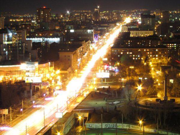 Романтика ночного города с высоты.