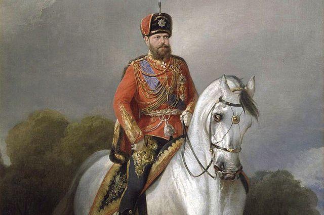 Н. Сверчков Портрет императора Александра III Александровича в мундире лейб-гвардии Гусарского полка.