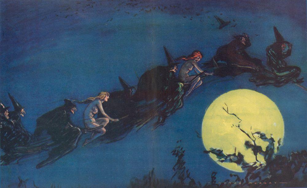 Две голые нимфы летят на метлах вместе с ведьмами
