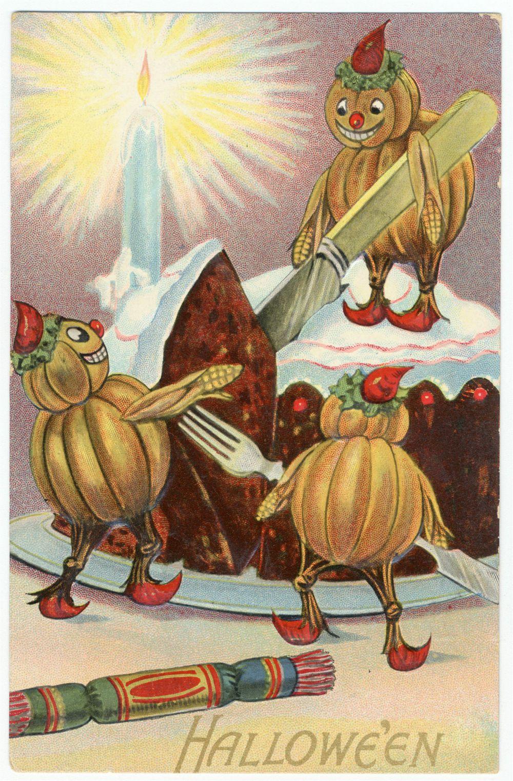 Тыквы, торт, крекеры и свечи – все атрибуты Хэллоуина