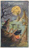Ведьма колдует над своим магическим горшочком
