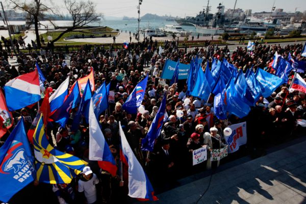 Владивосток. Митинг у мемориала «Боевая слава Тихоокеанского флота».