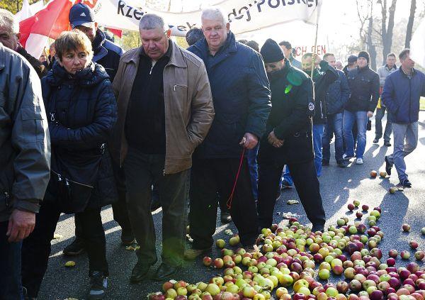 Митингующие потребовали от правительства вывести с рынка около 500 тонн яблок, направив их на переработку для производства спирта или биотоплива.