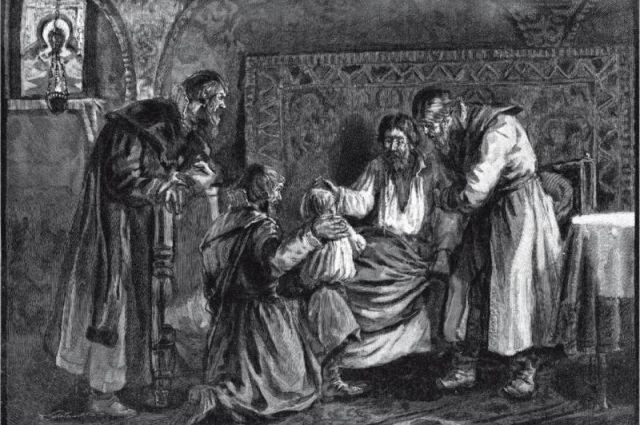 Василий III благословляет сына своего Ивана IV перед своей кончиной.