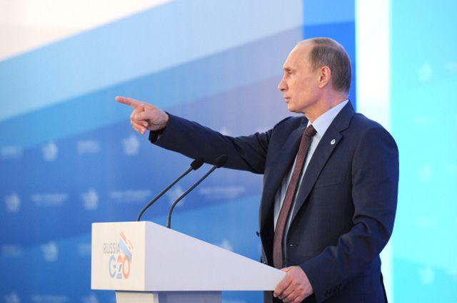 6сентября 2013. Президент России Владимир Путин напресс-конференции поитогам саммита лидеров «Группы двадцати» G20в Стрельне.