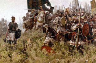 Репродукция картины М.И. Авилова (1882-1954) «Поединок наКуликовом поле», 1943год.