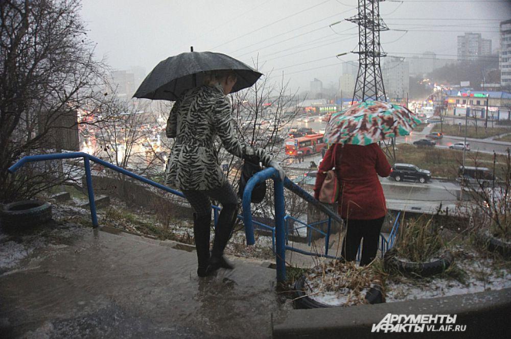 Экипировка по-приморски: зонт и шипованная обувь.