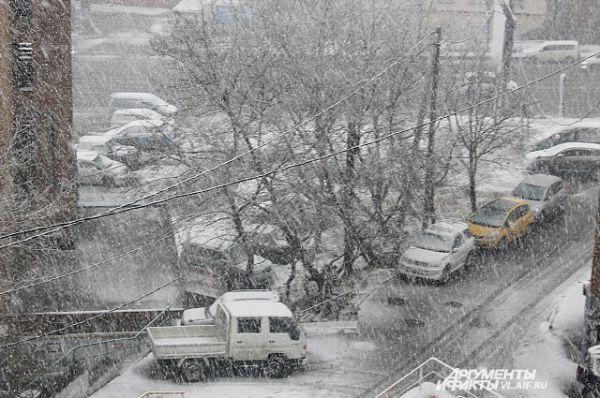Вместе со снегом усилился ветер.