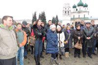 Протестующие вышли на Советскую площадь.