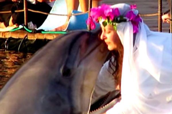 Кошатники и собачники - дело, в-общем-то, обычное. А вот 41-летняя британская миллионерша Шэрон Тендлер взяла планку выше, став законной женой дельфина. С дельфином Синди, которого женщина знала на момент обручения уже 15 лет, вступила в брак в южной части израильского порта Эйлат. Счастью, правда, не суждено было продлиться долго – дельфин умер от старости.