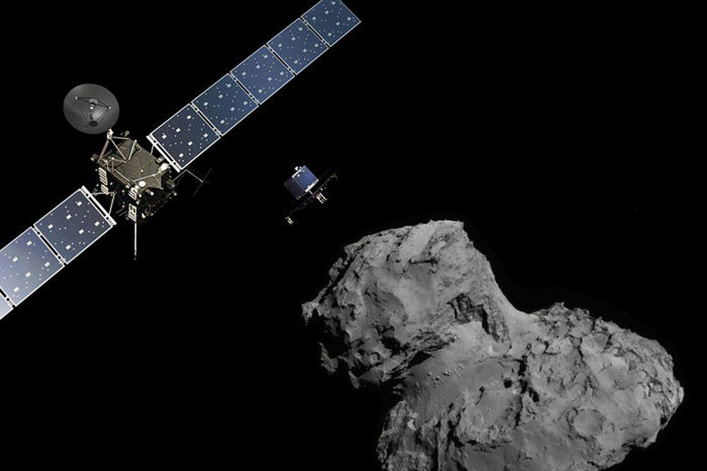 13 ноября научный модуль «Фила» приземлился на поверхности ядра кометы Чурюмова-Герасименко. Из-за того, что операция проводилась на расстоянии более 500 млн км от Земли сообщение об успешной посадке дошло до Европейского космического агентства лишь спустя 28 минут после отправки сигнала.