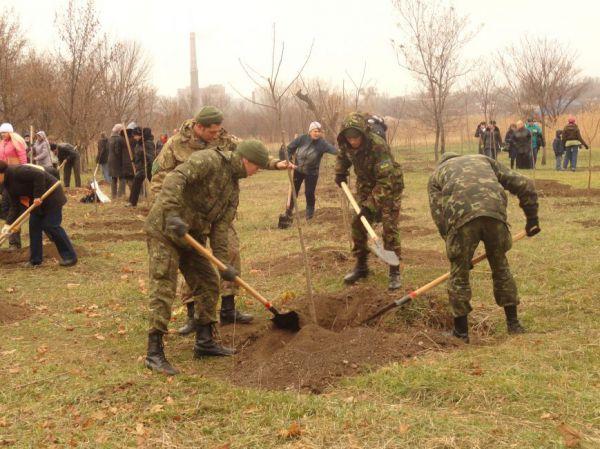 Нацгвардия и ОБСЕ озеленяли Мариуполь