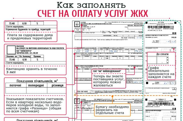Квитанция на оплату услуг ЖКХ