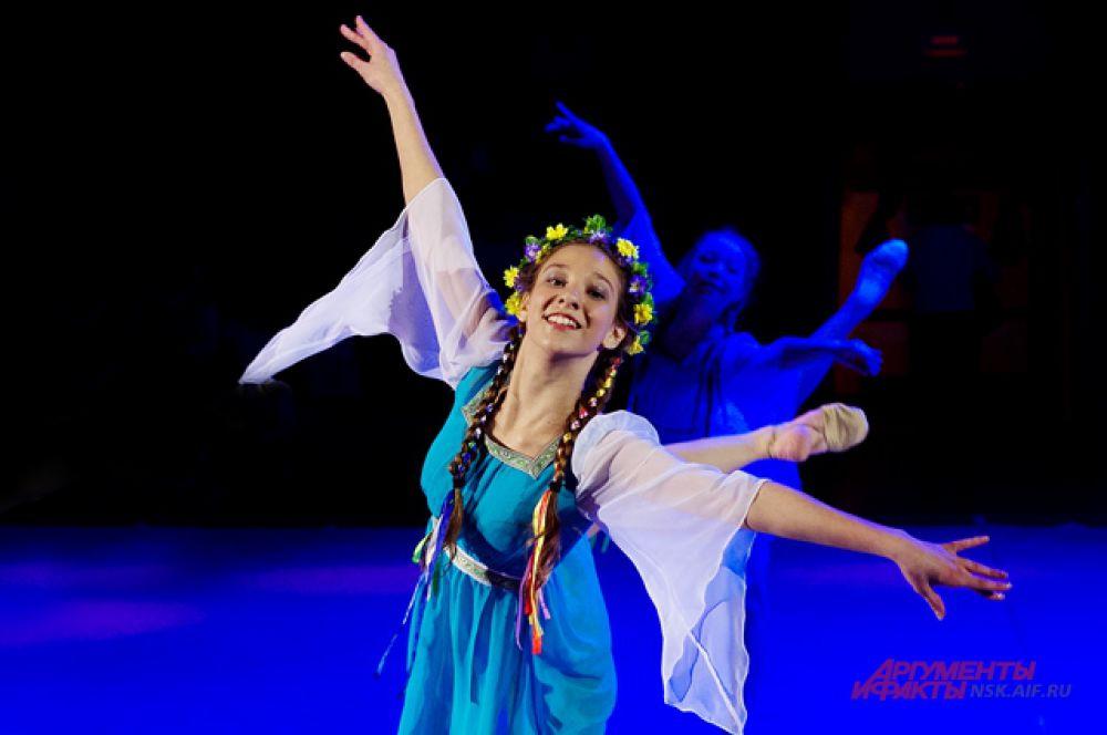 Элементы народного танца на спортивном празднике.