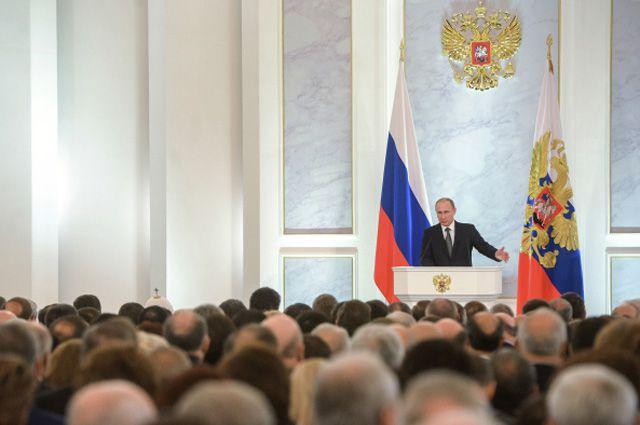4 декабря 2014. Президент России Владимир Путин во время оглашения ежегодного послания президента Российской Федерации Федеральному Собранию в Георгиевском зале Кремля.