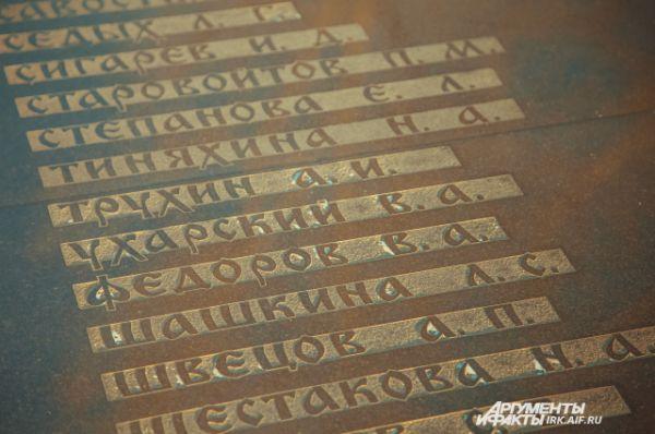 Имена погибших.