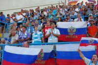 Болельщики в матче 3-го тура первенства России в зоне «Юг» между ФК СКЧФ (Севастополь) и ФК ТСК (Симферополь).