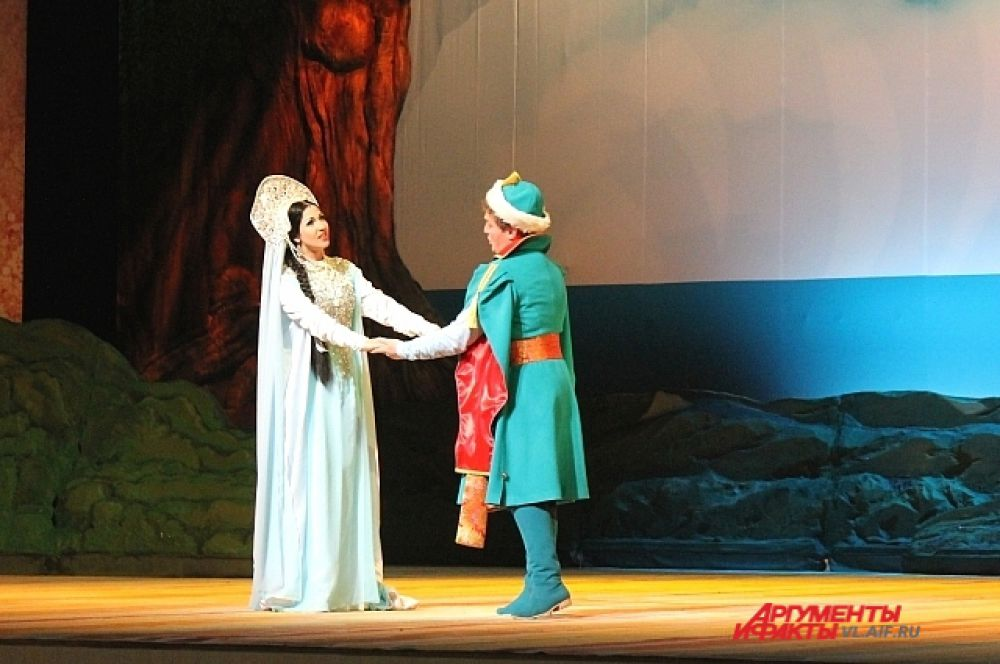 Царевна-Лебедь и князь Гвидон. Сцена из оперы «Сказка о царе Салтане».