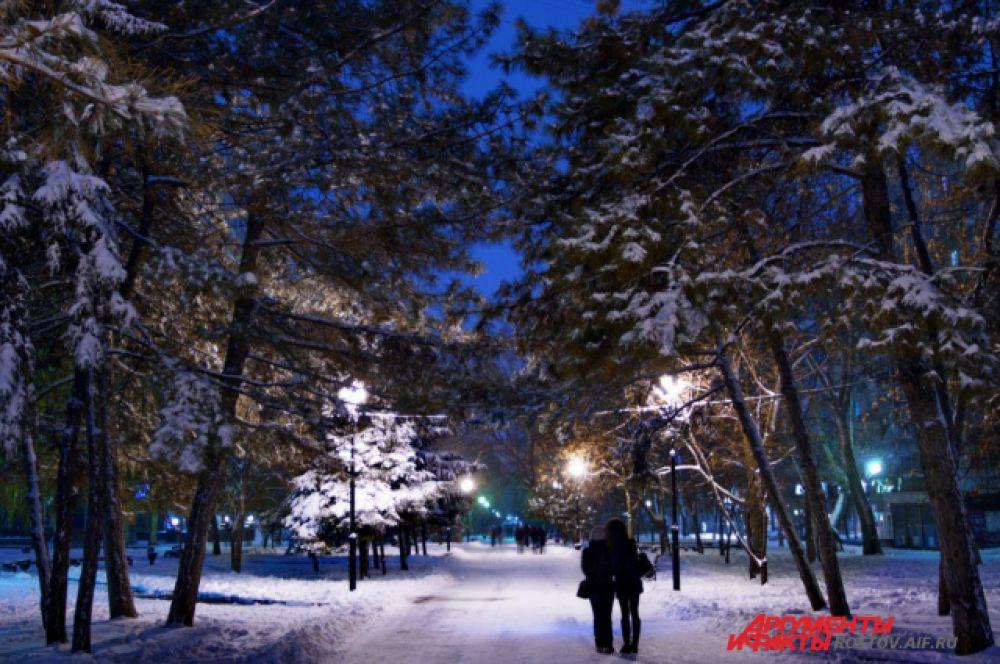 В Ростове-на-Дону первый снег выпал 26 ноября. Снежный покров лег сразу, превратив город в по-настоящему зимний.