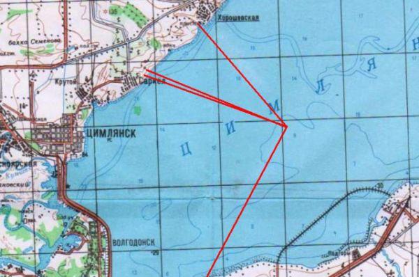 Карта мест переселения из зоны затопления водами Цимлянского водохранилища.