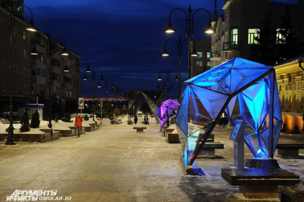 Улица Чокана Валиханова зимним вечером.