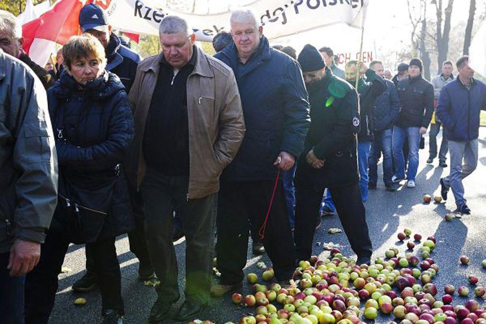 Сотни польских фермеров прошли маршем по Варшаве в знак протеста против запрета России на ввоз польских овощей и фруктов. Аграрии требовали компенсировать им убытки от введенного Россией продуктового эмбарго. Чтобы их восприняли всерьез, фермеры зачем-то разбросали на улицах Варшавы яблоки.