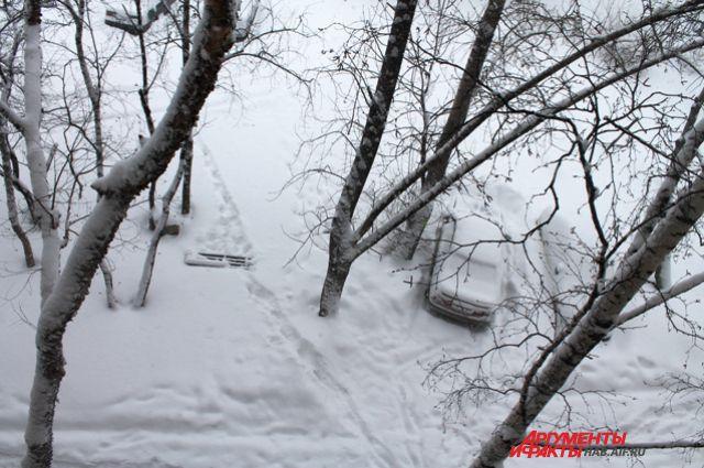 Один из хабаровских дворов сразу после снегопада