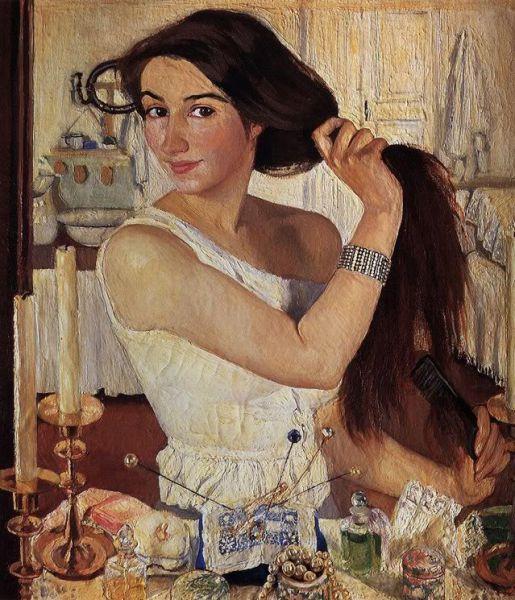 В 1910 году почти никому не известная художница Зинаида Евгеньевна Серебрякова показала на выставке Союза русских художников автопортрет «За туалетом», портреты знакомых, пейзажи, этюды крестьян. Её выступление было для всех неожиданным и вызвало восторженные отзывы. Особенно понравился автопортрет. Действительно, это произведение Серебряковой отвечало потребности многих её современников в «живительном ключе здоровья».