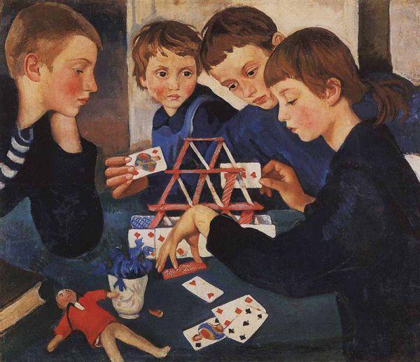 Голод. Запасы семьи разграблены революцией. Нет масляных красок — приходится перейти на уголь и карандаш. В это время она рисует свое самое трагическое произведение — «Карточный Домик», показывающий всех четверых осиротевших детей.