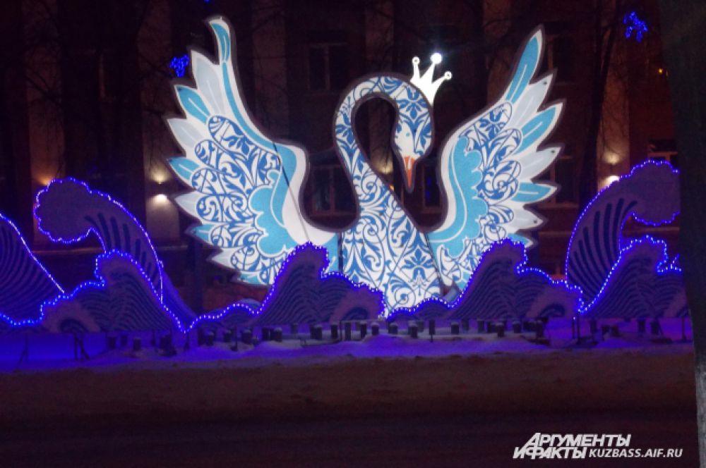 Световая композиция «Лебедь на волнах».