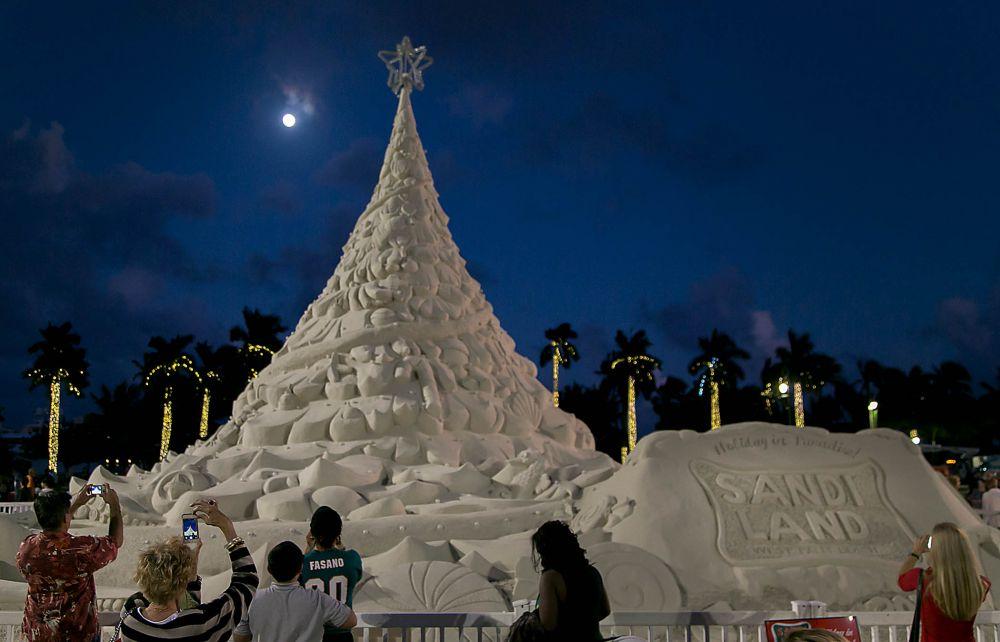 Жители штата Флорида (США) создали песчаную скульптуру в виде четырех новогодних елочек. На всю композицию потратили 600 тонн песка