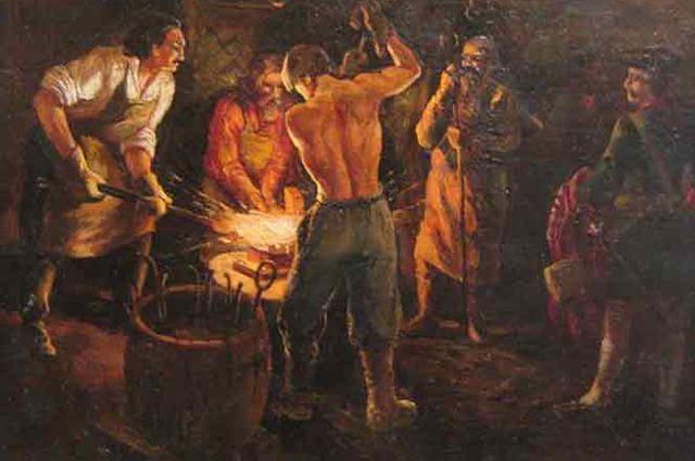 Картина неизвестного художника «Пётр I на Истьинском заводе».