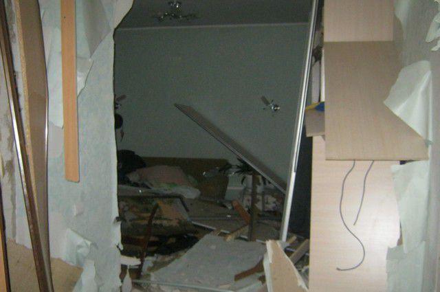 Из-за взрыва были разрушены внутриквартирные перегородки.