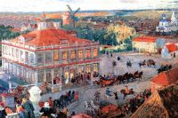 Дом Анны Монс в Немецкой слободе на картине Александра Бенуа (цикл «Картины по русской истории»).