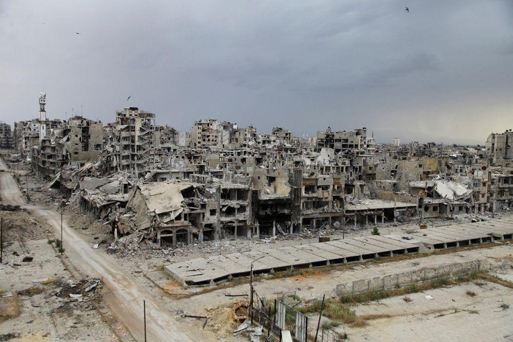 Город Хомс (Сирия) после прекращения боевых действий между повстанцами и правительственными войсками