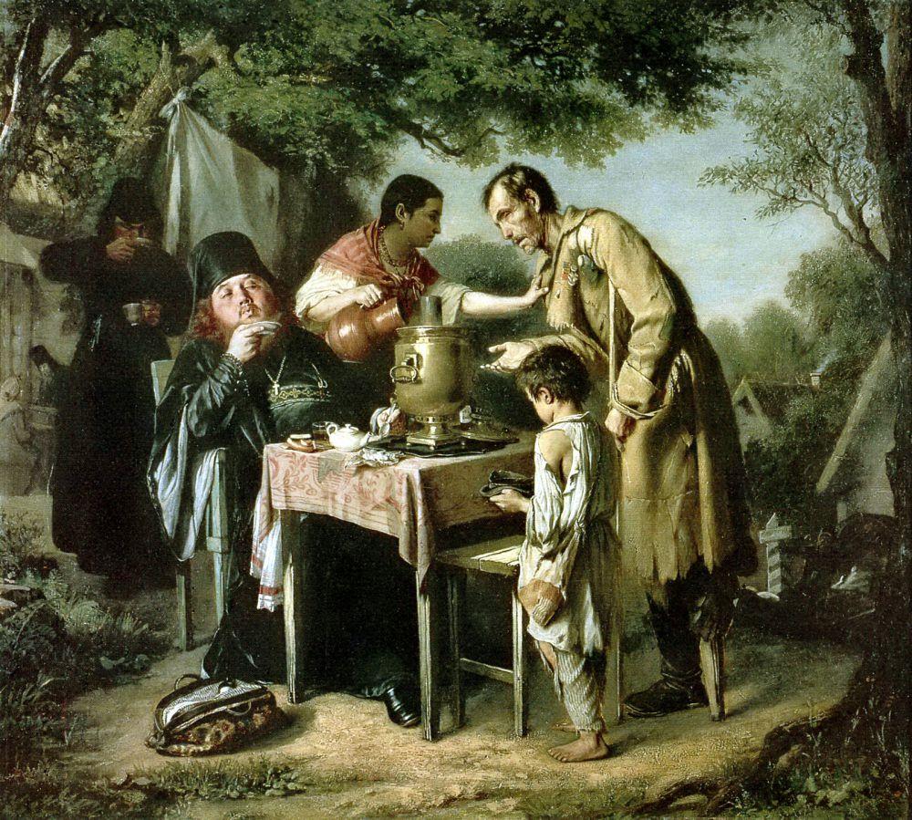 В 1862 году Василий Перов пишет картину «Чаепитие в Мытищах». В это же время он женится на Елене Эдмондовне Шейс и, получив от Академии пансион, уезжает в Париж. По пути он посещает картинные галереи Дрездена, Берлина, а также посещает мастерские художников.