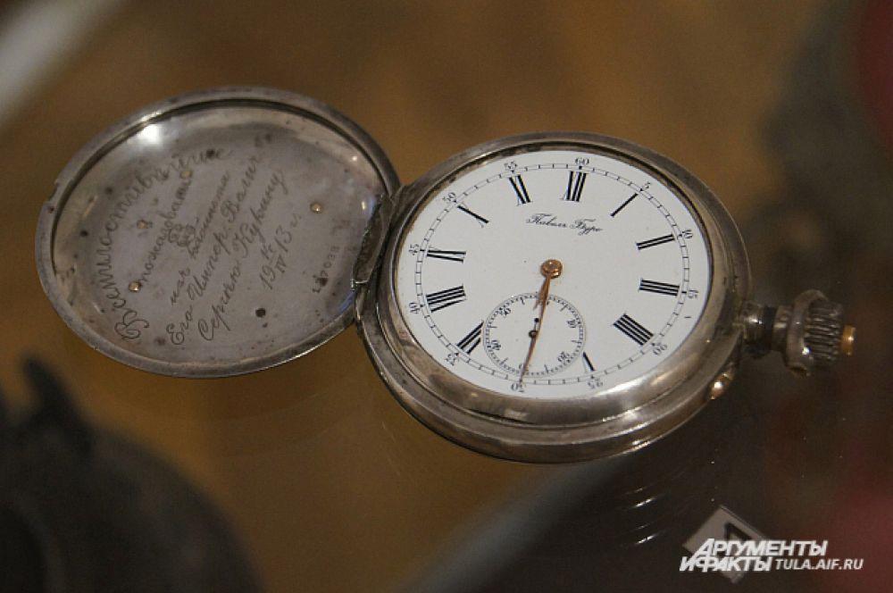 Серебряные часы фирмы Павел Буре с дарственной надписью, конец 19 века