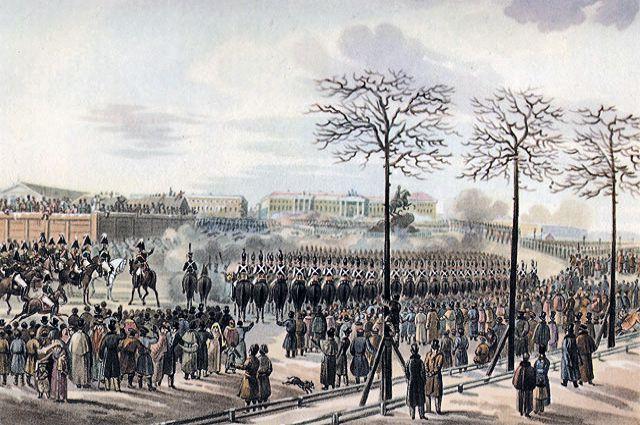Сенатская площадь 14 декабря 1825 года. Рисунок Кольмана из кабинета графа Бенкендорфа в Фалле.
